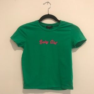"Green ""Baby Girl"" Cropped T-Shirt"